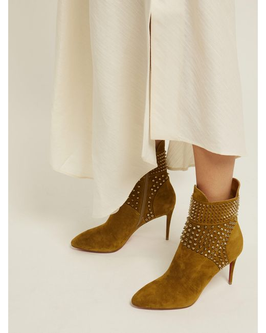 4ef299d82d14 ... Christian Louboutin - Natural Hongroise 85 Studded Suede Boots - Lyst  ...