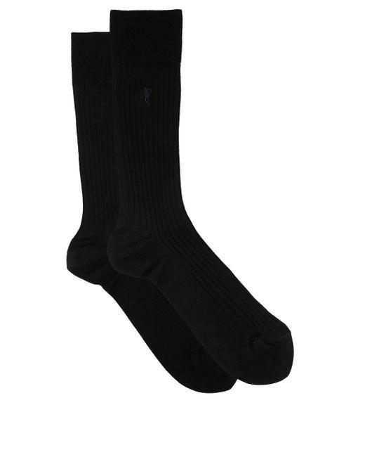 London Sock Company Black Simply Sartorial Rib-knitted Cotton-blend Socks for men