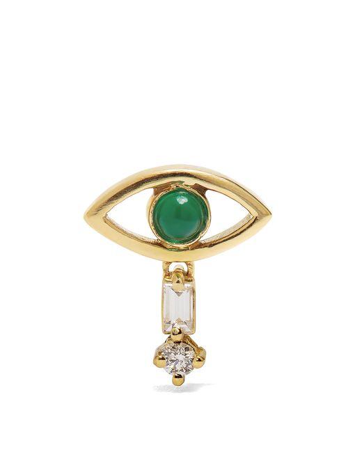 Ileana Makri - Metallic Diamond, Emerald & Yellow-gold Earring - Lyst