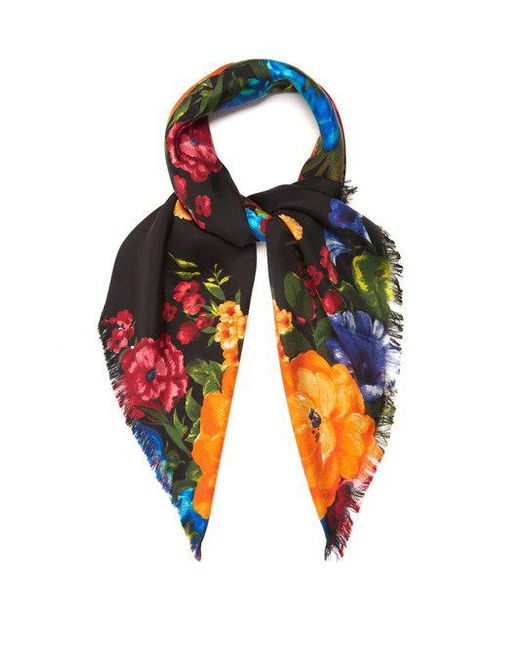 Inviter Et Fleurs Foulard Imprimé Soie Twill Gucci bdGEOV