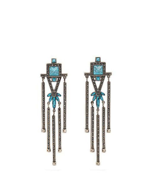 Valentino - Blue Crystal-embellished Clip-on Earrings - Lyst