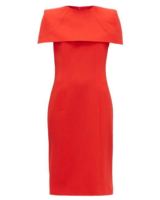 Givenchy メーガン ケープスリーブ クレープドレス Red