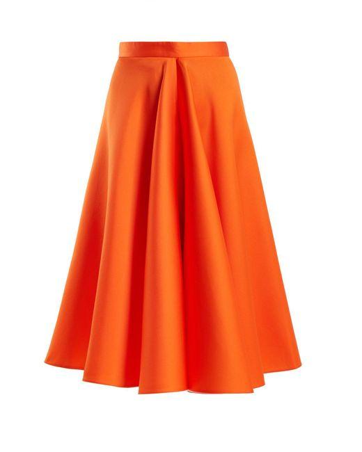 Maison Rabih Kayrouz Orange Flared Techno & Silk Satin Midi Skirt