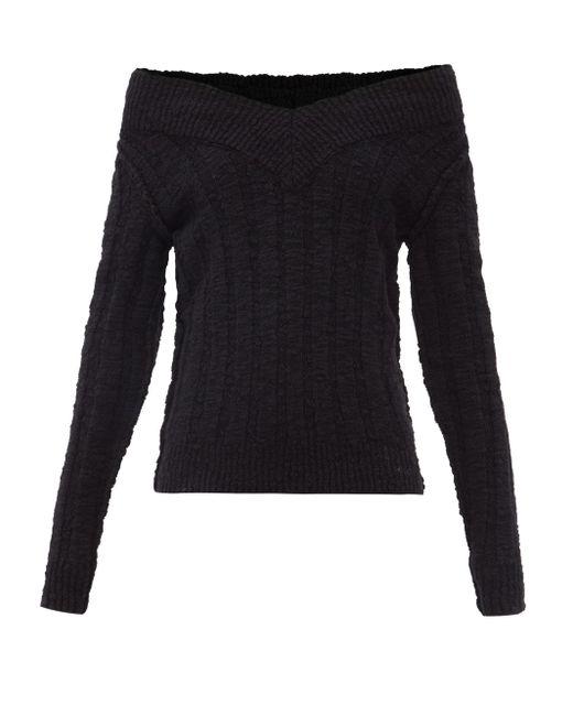 Dolce & Gabbana オフショルダー リブウールブレンドセーター Black