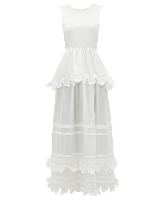 CECILIE BAHNSEN エコー ティアード シルクシャルムーズドレス White