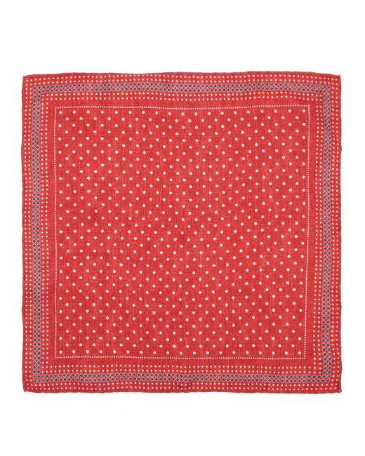 メンズ Brunello Cucinelli ポルカドット シルクポケットチーフ Red