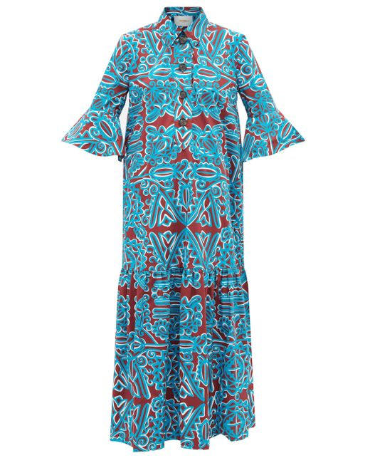LaDoubleJ アルテミス コットンポプリンシャツドレス Blue