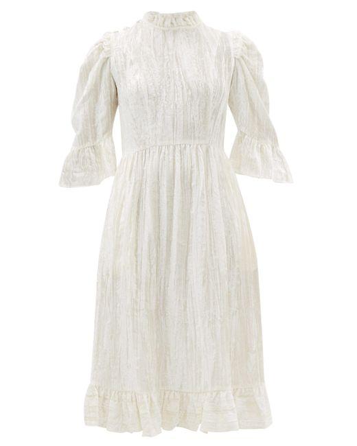 BATSHEVA ラッフル コットンベルベットドレス White