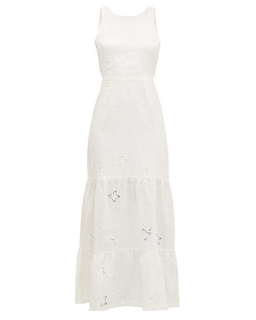 SIR White Alena Broderie-anglaise Open-back Linen Dress