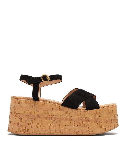 Gianvito Rossi Black Billie 20 Suede Wedge Sandals
