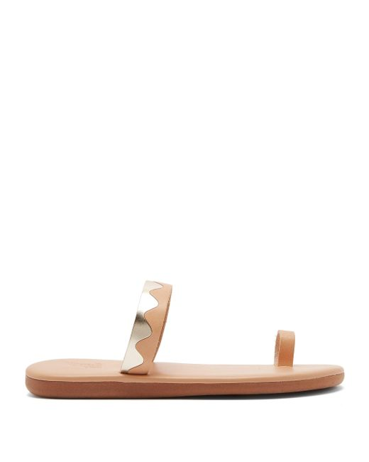 Ancient Greek Sandals Multicolor Kyma Leather Slides