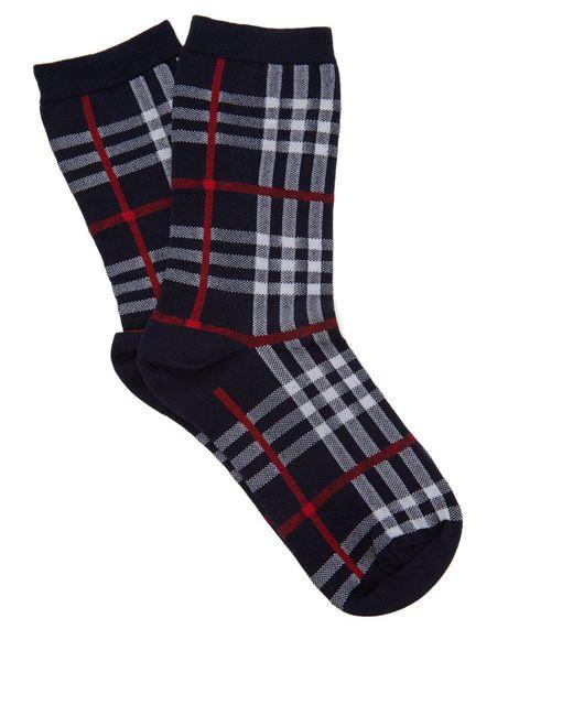 Burberry - Blue Vintage Check Cotton Blend Socks - Lyst
