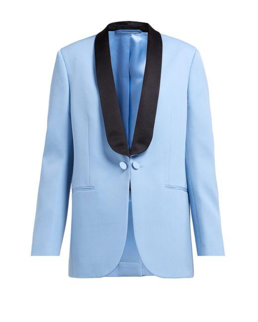 Calvin Klein シルクサテンラペル ウールタキシードジャケット Blue
