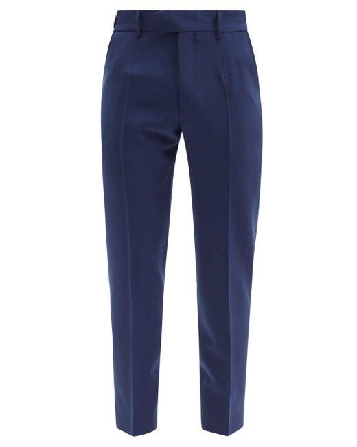 メンズ Dolce & Gabbana アジャスタータブ ウールブレンドツイルパンツ Blue