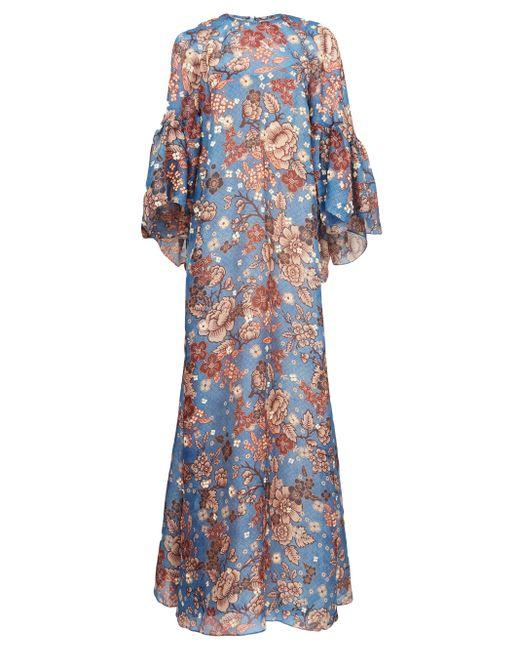 Biyan ガリー フローラル シルクマキシドレス Blue