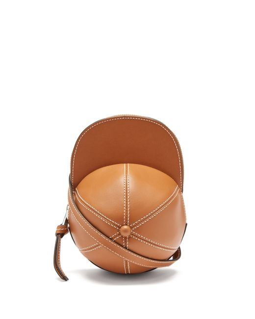 J.W. Anderson キャップ ミディ レザークロスボディバッグ Brown