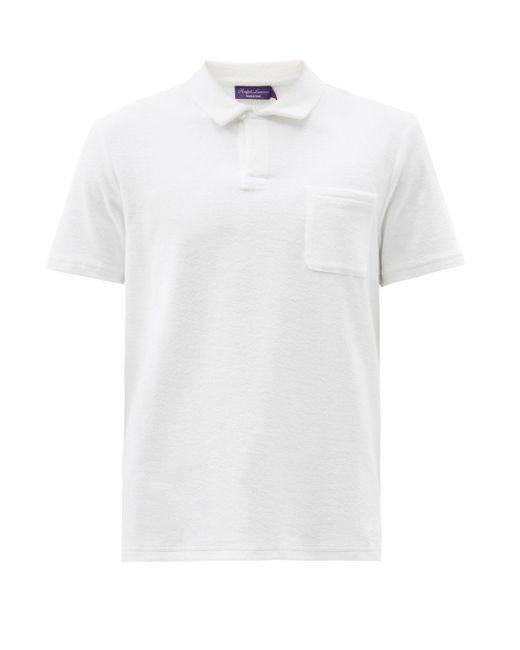 メンズ Ralph Lauren Purple Label リヴィエラ テリーコットンポロシャツ White