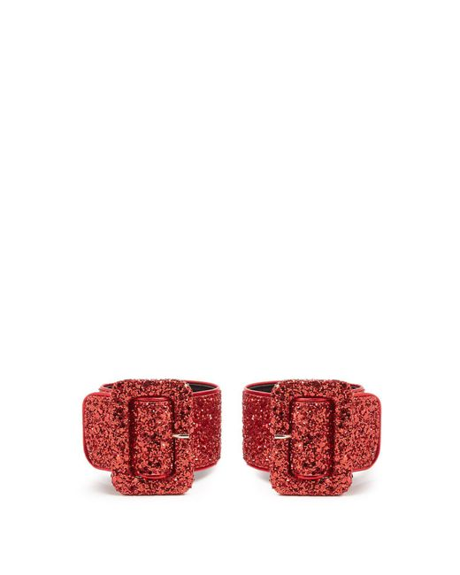 Attico - Red Glitter-embellished Ankle Straps - Lyst