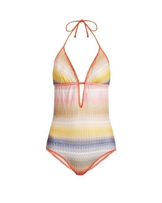 Missoni   Multicolor Zigzag-striped Halterneck Swimsuit   Lyst