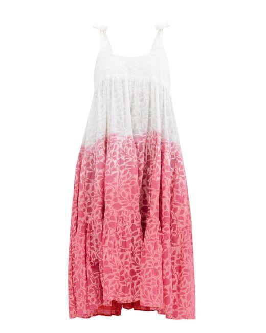 Juliet Dunn シャドー フラワー コットンボイルドレス Pink