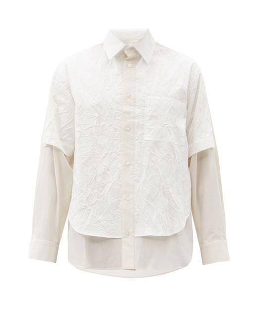 メンズ Deveaux テクスチャードレイヤー ポプリンシャツ White