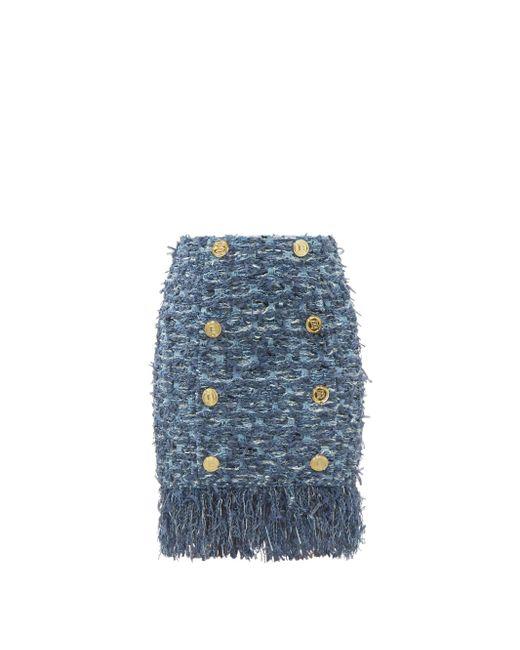 Balmain フレイドヘム ハイライズ ツイードミニスカート Blue