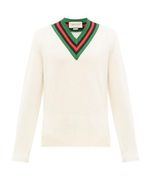 メンズ Gucci グッチvネック ウールニットセーター White