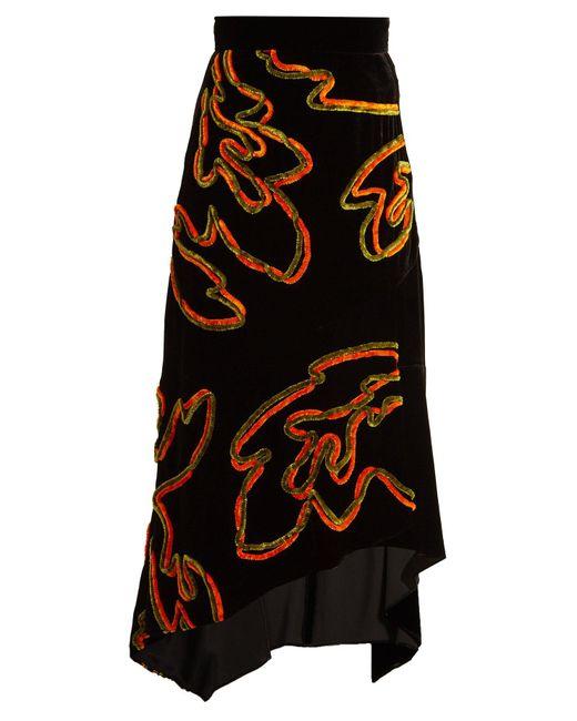 Peter Pilotto Black Floral Chenille Asymmetric Velvet Skirt