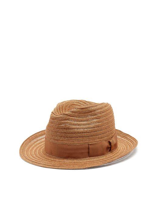 Borsalino - Brown Ribbon Embellished Panama Hat for Men - Lyst ... 16caa26f015d