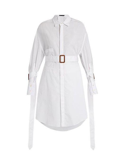 CALVIN KLEIN 205W39NYC - White Katya Belted Cotton Shirt - Lyst