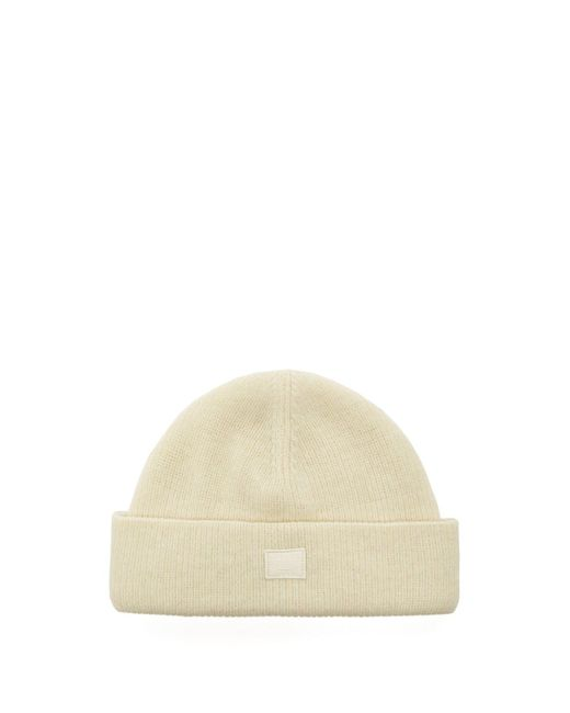 Acne - White Kansy Face Wool Blend Beanie Hat for Men - Lyst