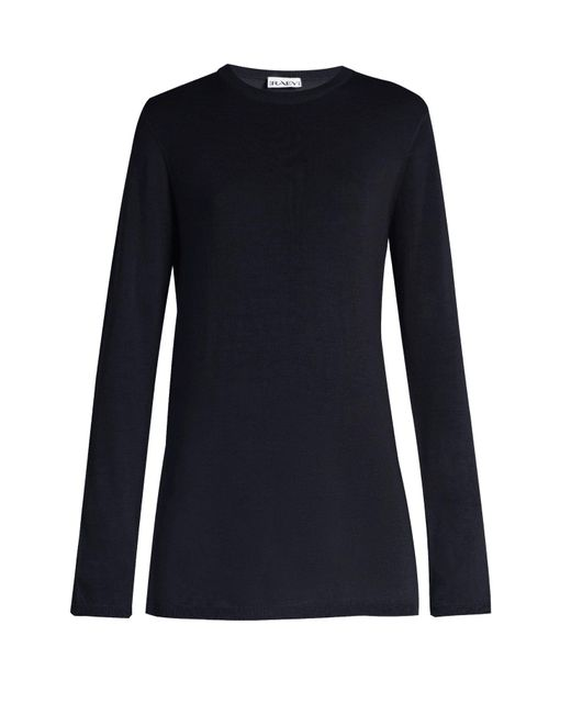 Raey - Blue Long-line Fine-knit Cashmere Sweater - Lyst
