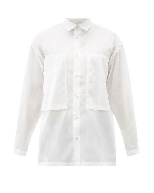メンズ E. Tautz パッチポケット コットンポプリンシャツ White