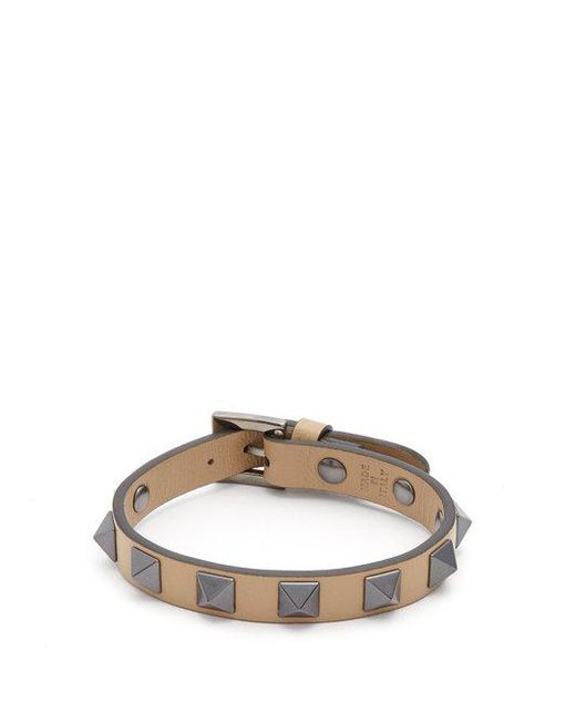 Valentino - Brown Rockstud-embellished Leather Bracelet for Men - Lyst