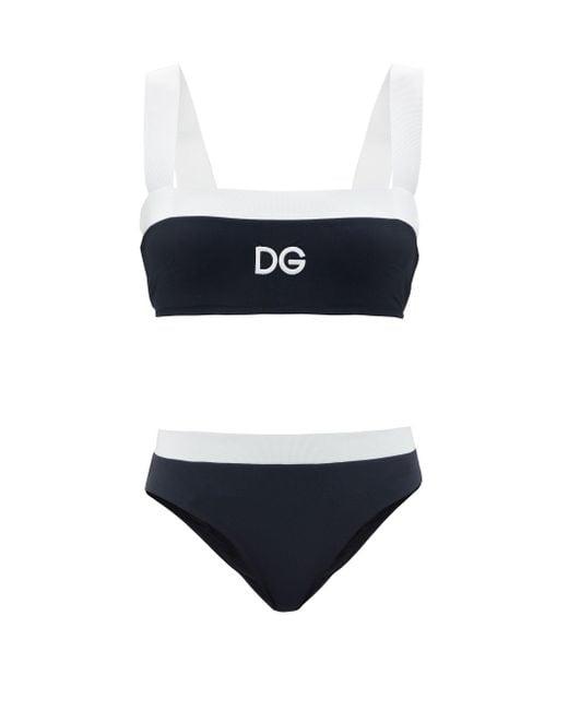 Dolce & Gabbana ロゴプリント スクエアネック ビキニ Multicolor