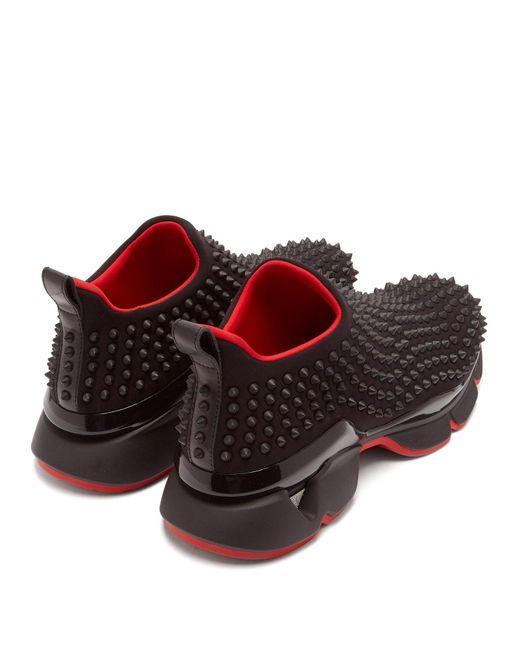 new arrival 9e15a b80bd Men's Black Spike Embellished Neoprene Sock Sneakers