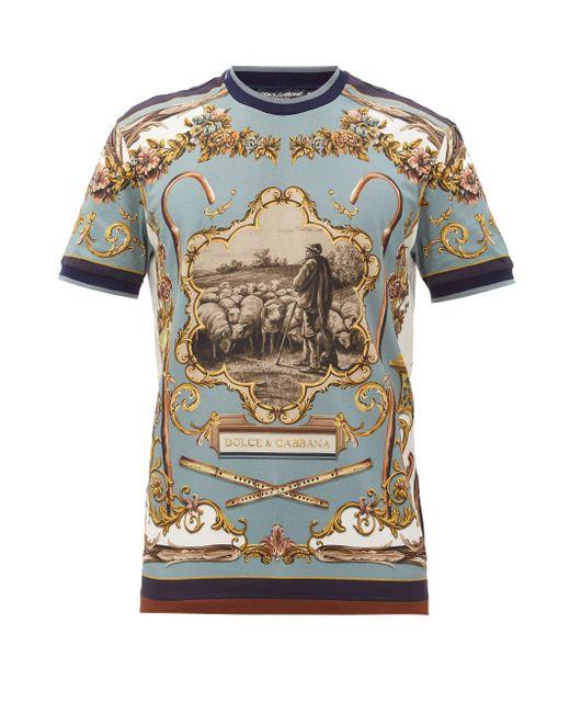 メンズ Dolce & Gabbana プリント コットンtシャツ Blue