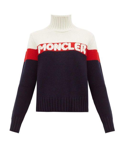 Moncler ロゴジャカード ストライプ ウールブレンドセーター Blue