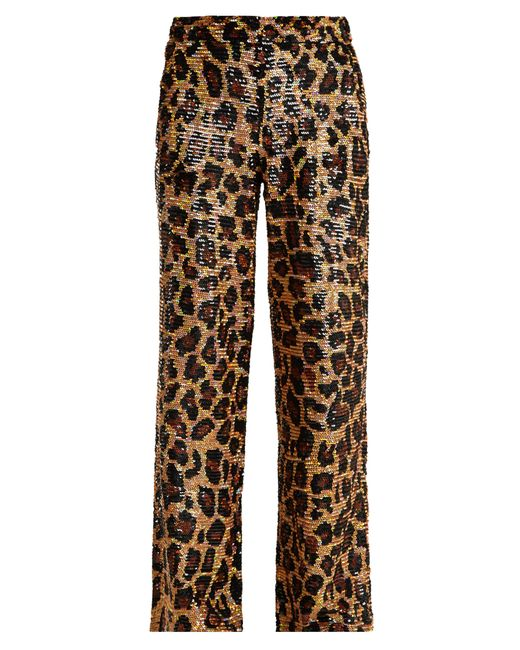Ashish - Brown Leopard Sequin Embellished Cotton Trousers - Lyst