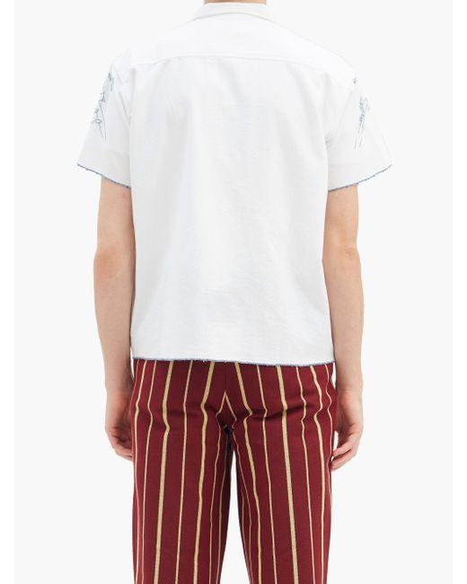 メンズ Bode マウンテン タブロー コットンシャツ White