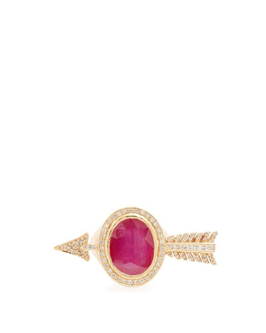 Jade Jagger | Red Diamond, Ruby & Yellow-gold Ring | Lyst