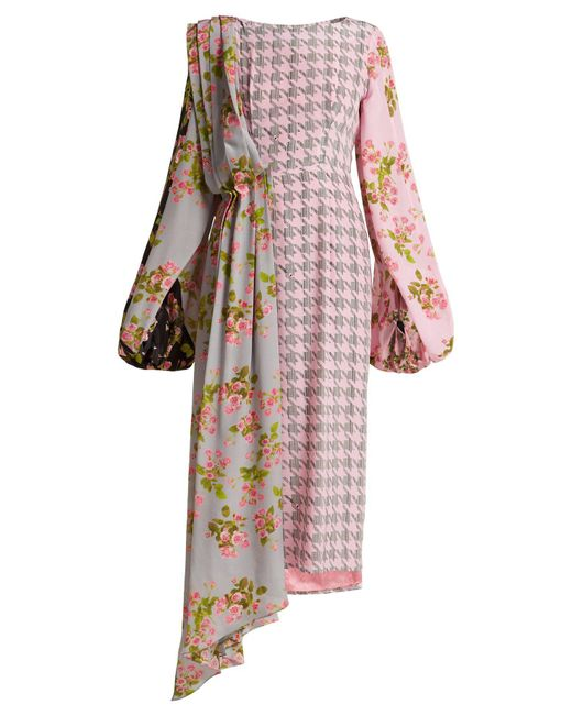 Natasha Zinko - Pink Floral Panel Houndstooth Silk Midi Dress - Lyst