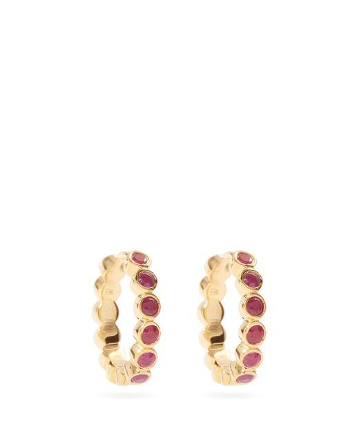 Créoles en argent sterling plaqué or et rubis Theodora Warre en coloris Multicolor