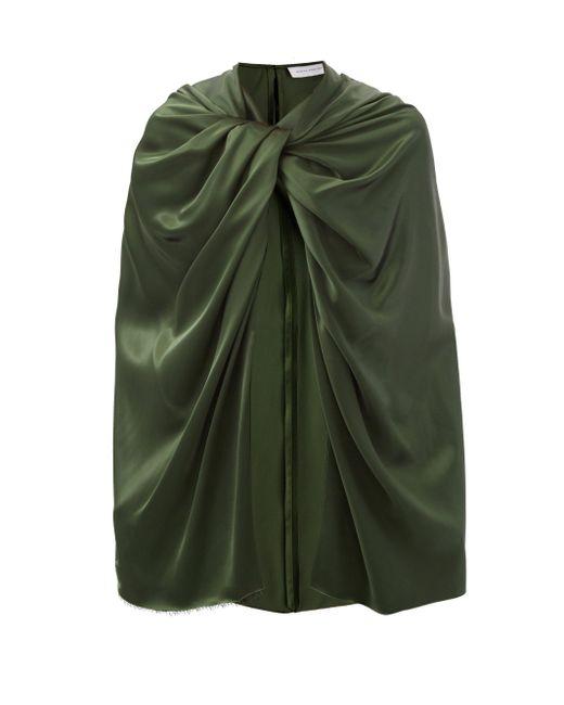 Marina Moscone ツイストショルダー サテンケープ Green