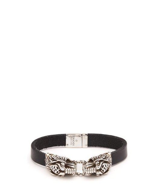 Gucci Tiger head leather bracelet iqSnp