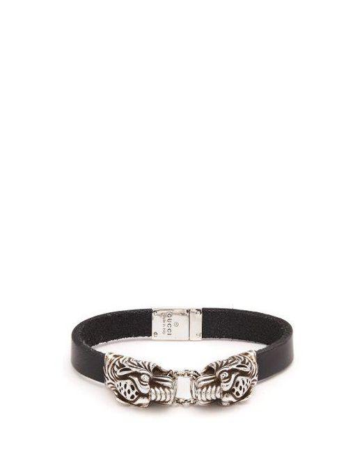 Gucci - Metallic Tiger-head Leather Bracelet for Men - Lyst