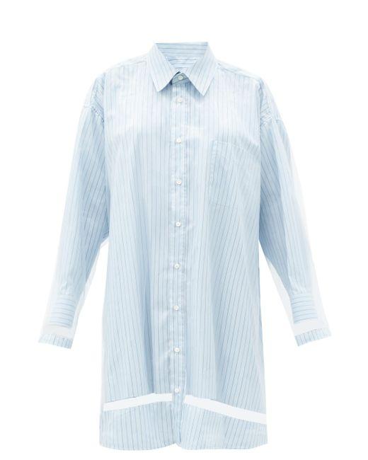Maison Margiela オーガンザオーバーレイ ストライプシャツドレス Blue