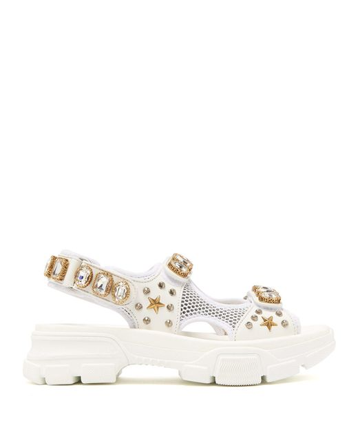 dc41dcec3e1 Lyst - Gucci Crystal Embellished Leather And Mesh Sandal in White ...