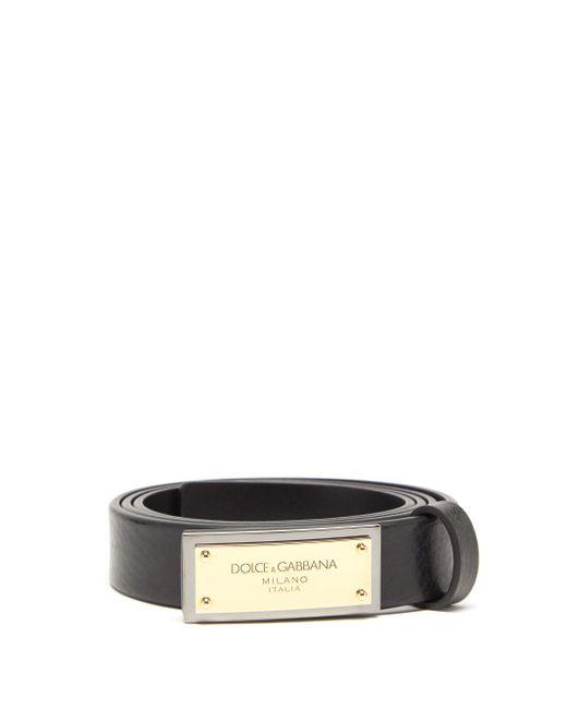 メンズ Dolce & Gabbana ロゴプレート レザーベルト Multicolor