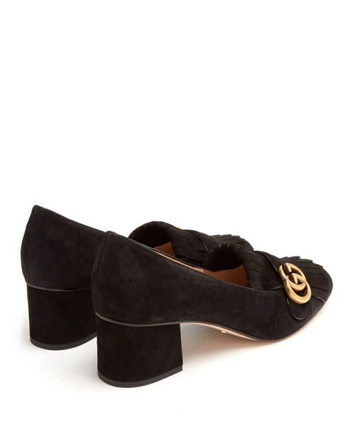 44028a980 Gucci Marmont Fringed Suede Loafers in Black - Save 6% - Lyst